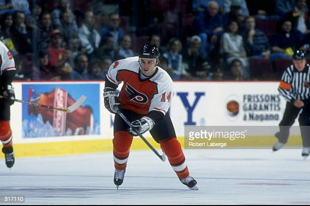Center Peter White of the Philadelphia Flyers in action during a game against the Montreal Canadiens at the Molson Center in Montreal Canada The...