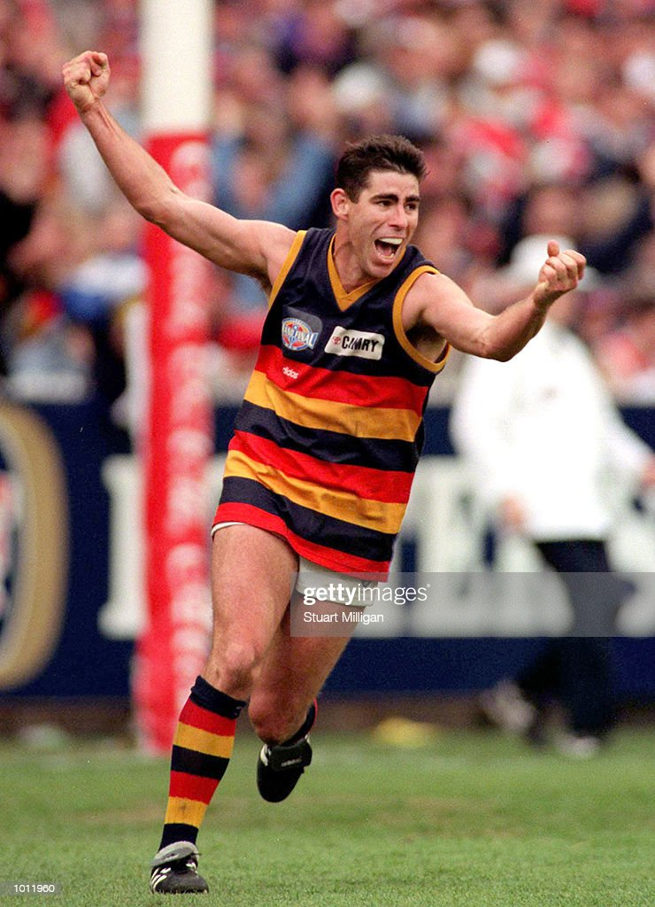 Darren Jarman of Adelaide celebrates a goal, in the 1997 AFL Grand Final match between the Adelaide Crows and St Kilda, played at the Melbourne Cricket Ground, Melbourne, Australia. Adelaide defeated St Kilda. Mandatory Credit: Stuart Milligan/ALLSPORT