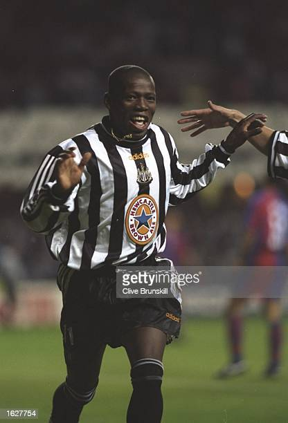 Faustino Asprilla of Newcastle celebrates during the Champions League match against Barcelona at St James'' Park in Newcastle England Newcastle won...