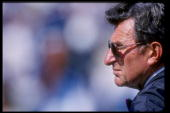 Head coach Joe Paterno of Penn State during the Nittany Lions 3417 win over Pittsburgh University at Beaver Stadium in University Park Pennsylvania...
