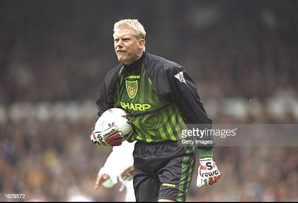 Manchester United goalkeeper Peter Schmeichel shouts to his team mates during an FA Carling Premiership match against Leeds United at Elland Road in...