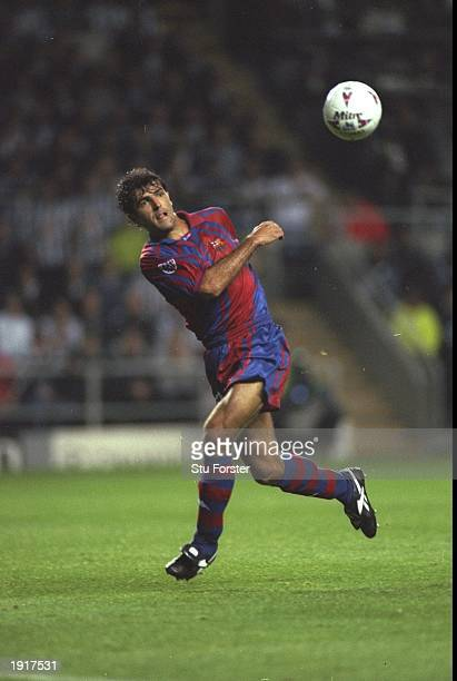 Miguel Angel Nadal of Barcelona in action during the Champions League match against Newcastle United at St James'' Park in NewcastleuponTyne England...