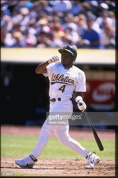 Miguel Tejada of the Oakland Athletics in action during the A''s 92 loss to the Seattle Mariners at the Oakland Coliseum in Oakland California...