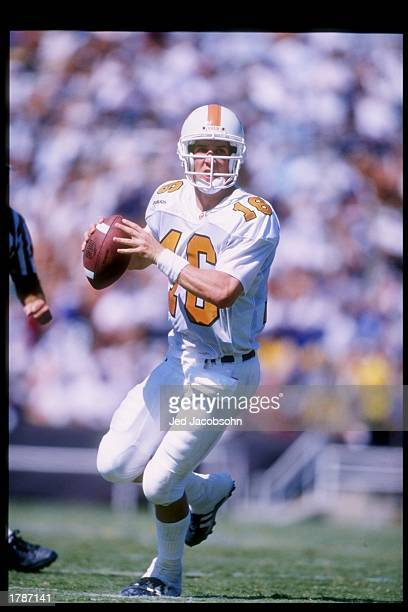 Quarterback Peyton Manning of the Tennessee Volunteers prepares to pass the ball during a game against the UCLA Bruins at the Rose Bowl in Pasadena...