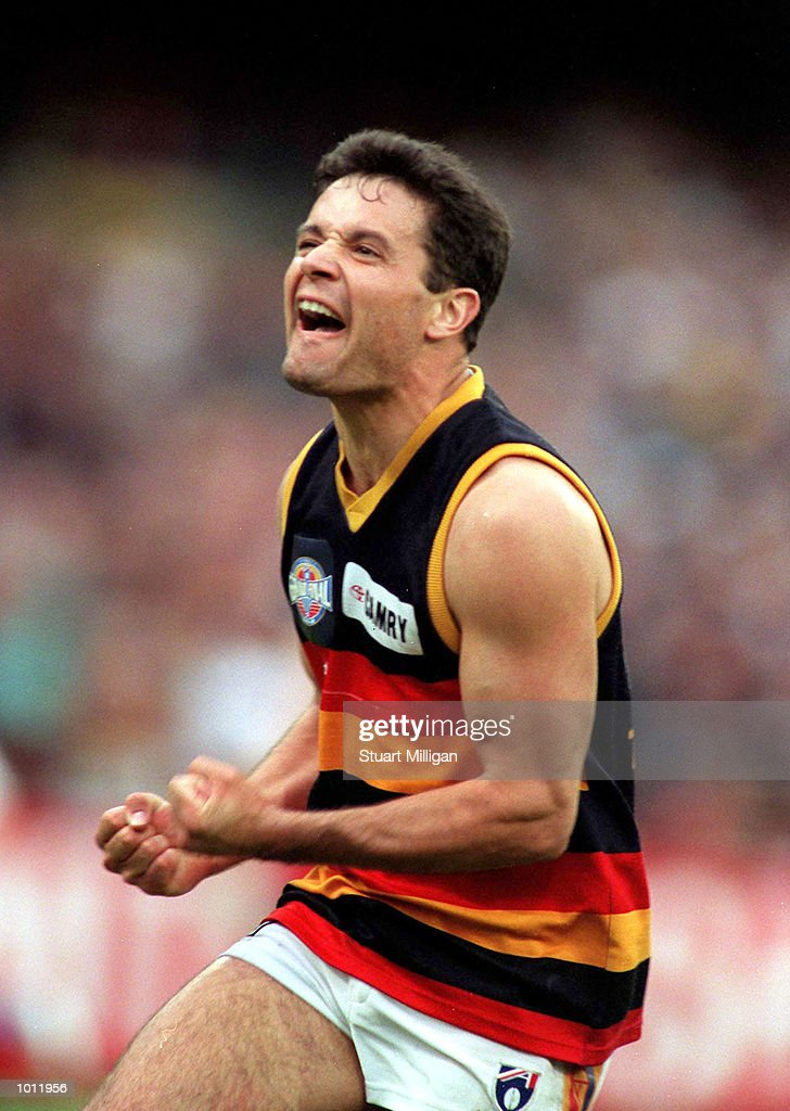 Troy Bond of Adelaide celebrates kicking a goal, in the 1997 AFL Grand Final match between the Adelaide Crows and St Kilda, played at the Melbourne Cricket Ground, Melbourne, Australia. Adelaide defeated St Kilda. Mandatory Credit: Stuart Milligan/ALLSPORT