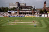 A general view of the ground during the match between Hampshire v Lancashire in 1998 AXA Cricket Sunday League played at Old Trafford Manchester...