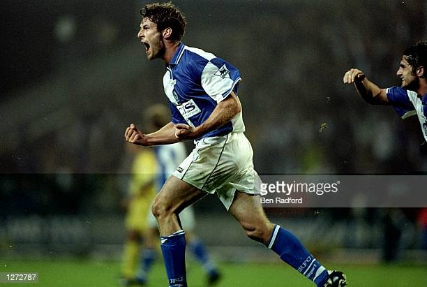 Chris Sutton of Blackburn Rovers celebratrs his first goal of the game during the FA Carling Premiership match against Chelsea at Ewood Park in...
