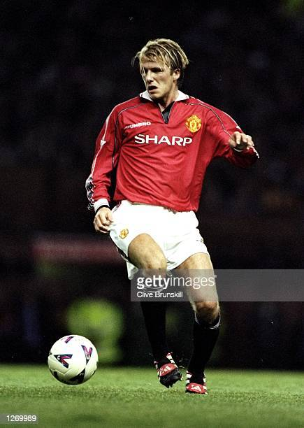 David Beckham of Manchester United on the ball during the FA Carling Premiership match against Charlton Athletic at Old Trafford in Manchester...
