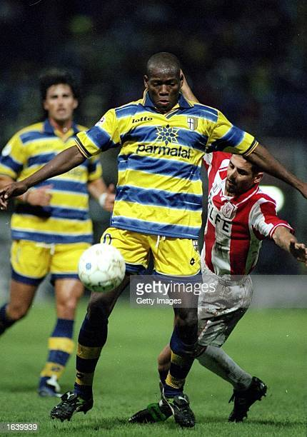 Faustino Asprilla of Parma in action during the Italian Serie A match against Vicenza in Parma Italy The game ended 00 Mandatory Credit Allsport UK...