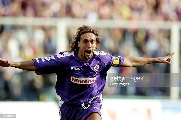 Gabriel Batistuta of Fiorentina celebrates during the Serie A match against Empoli at the Stadio Communale in Florence Italy Mandatory Credit...