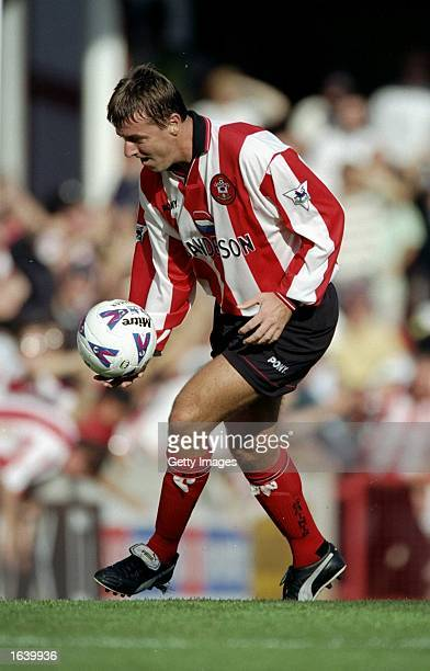 Matt Le Tissier of Southampton in action during the FA CArling Premiership match against Tottenham Hotdpus at The Dell in Southampton England The...