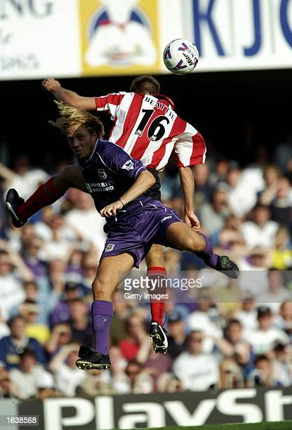 Paolo Tramezzani of Tottenham Hotspur challenges James Beattie of Southampton during the FA Carling Premiership match at the Dell in Southampton...