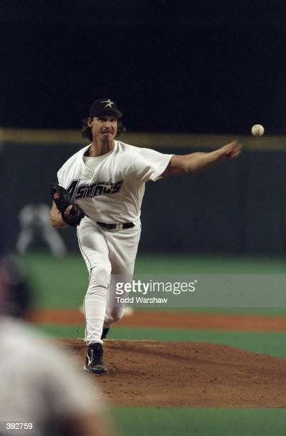 Pitcher Randy Johnson of the Houston Astros in action during the National League Division Playoff Series Game 1 against the San Diego Padres at The...