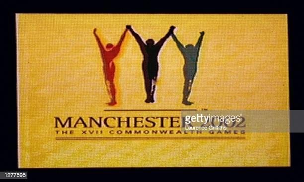The Manchester 2002 logo during the closing ceremony of Commonwealth Games in Kuala Lumpur Malaysia Mandatory Credit Laurence Griffiths /Allsport