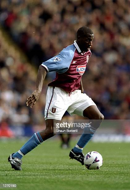 Ugo Ehiogu of Aston Villa in action during the FA Carling Premiership game against Wimbledon at Villa Park Birmingham England Aston Villa won 20...