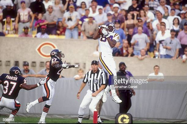 Wide receiver Randy Moss of the Minnesota Vikings in action during a game against the Chicago Bears at the Soldier Field in Chicago Illinois The...