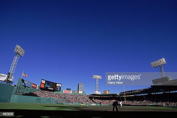A general view of the stadium taken from the outfield during the game between the Detroit Tigers and the Boston Red Sox at the Fenway Park in Boston...