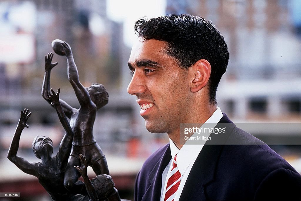 Adam Goodes, of the Sydney Swans, Winner of the 1999 Norwich Rising Star, with his trophy. The Awards was presented at the Palladium, Crown Casino, Melbourne, Australia. Mandatory Credit: Stuart Milligan/ALLSPORT