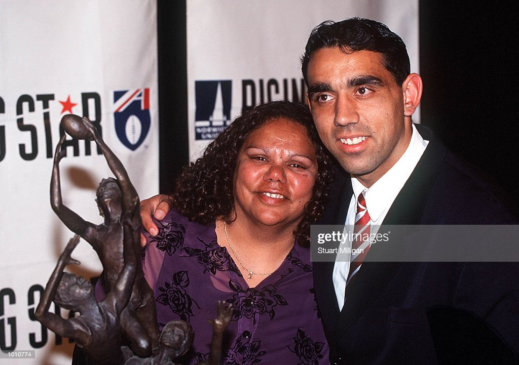 Adam Goodes, of the Sydney Swans, Winner of the 1999 Norwich Rising Star, celebrates with his mother Lisa. The Awards was presented at the Palladium, Crown Casino, Melbourne, Australia. Mandatory Credit: Stuart Milligan/ALLSPORT