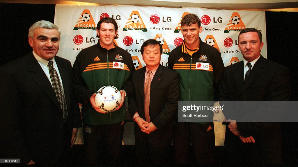 Basil Scarsella chairman of Soccer Australia, Socceroo Brett Emerton, Christopher Kim Managing Director of L.G, Socceroo Alex Tobin and Martin Jolly Managing Director of IMG during the announcement of the new major sponsor for season 2000. L.G has the official naming rights to the forthcoming season at the Star City Casino, Sydney Australia. Mandatory Credit: Scott Barbour/ALLSPORT