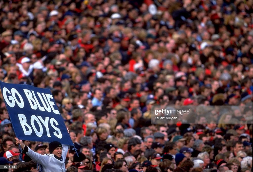 Carlton fans cheer on their Blue Boys during the AFL Second Preliminary Final against the Essendon Bombers at the MCG in Melbourne, Australia. Carlton progressed to the Grand Final with a tense 104 - 103 win. \ Mandatory Credit: Stuart Milligan /Allsport