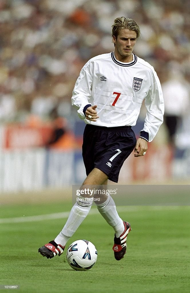 David Beckham of England in action during the Euro 2000 qualifying match between England and Luxembourg played at Wembley Stadium in London, England. England won the game 6-0. \ Mandatory Credit: Ben Radford /Allsport