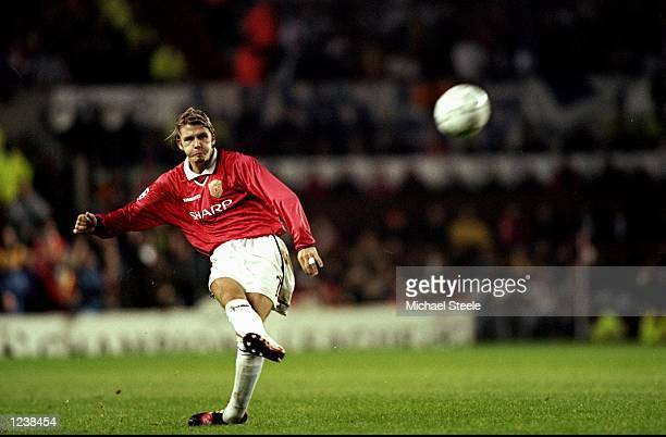 David Beckham of Manchester Utd in action during the UEFA Champions League Group D match between Manchester United and Olympique Marseille played at...