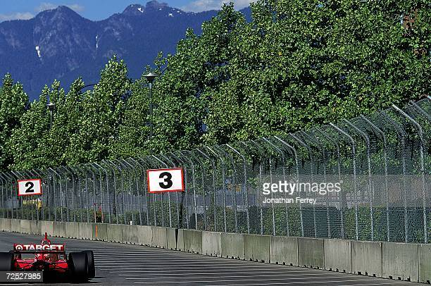 Driver Juan Pablo Montoya of Columbia drives the Honda Reynard 99I for Target/Chip Ganassi races on the track during the Molson Indy Vancouver part...