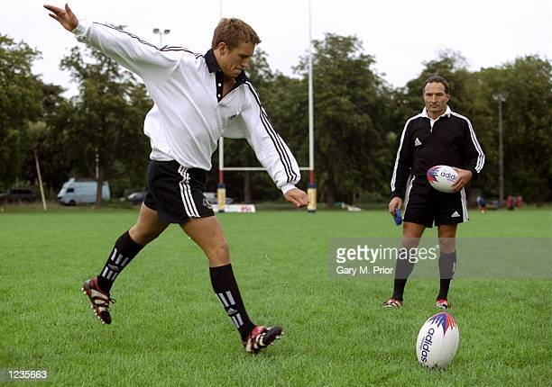 England Fly half Jonny Wilkinson and kicking guru Dave Alred test the new footwear during the Adidas Predator Kicking Clinic held at Old Deer Park...