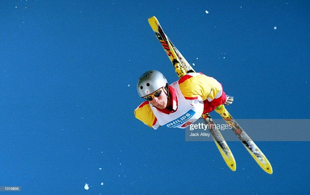 Evelyne Leu of Switzerland flies above the Mount Buller world cup aerials site during the first round of the 1999/2000 world cup aerials season, at Mount Buller, Australia. Leu finished sixth in the womens section. Mandatory Credit: Jack Atley/ALLSPORT