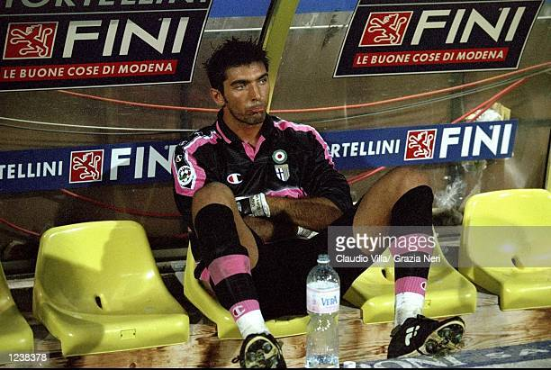 Gianluigi Buffon of Parma looks dejected following the Serie A match between Parma and Lazio played at the Stadio Ennio Tardini Parma Italy The game...