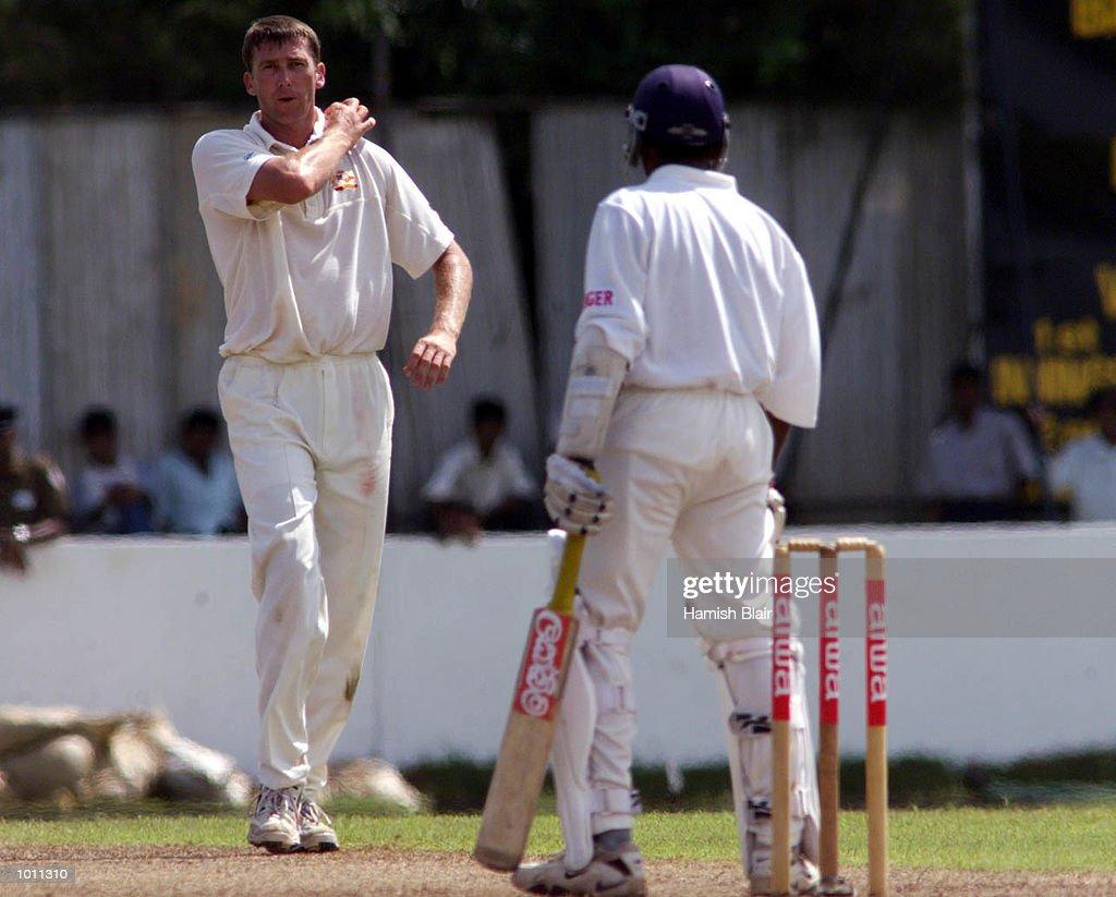 Glenn McGrath of Australia and Mahela Jayawardene of Sri Lanka exchange a few words, during day one of the second test between Sri Lanka and Australia at Galle International Stadium, Galle, Sri Lanka.X Mandatory Credit: Hamish Blair/ALLSPORT