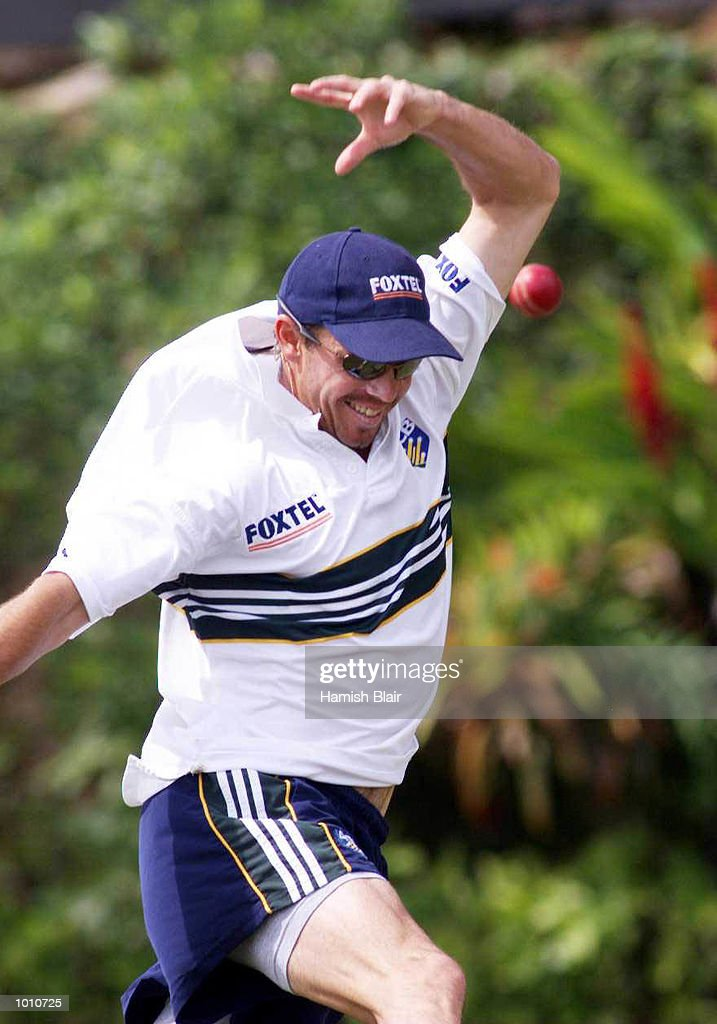 Greg Blewett, who made a century in the tour match, enjoys himself during a catching drill, during Australian training at Asgiriay Stadium, Kandy, Sri Lanka. Mandatory Credit: Hamish Blair/ALLSPORT
