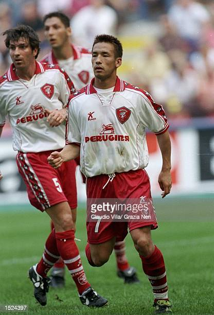 Hidetoshi Nakata of Perugia in action during the Serie A match against AC Milan at the San Siro in Milan Italy Mandatory Credit Claudio Villa...