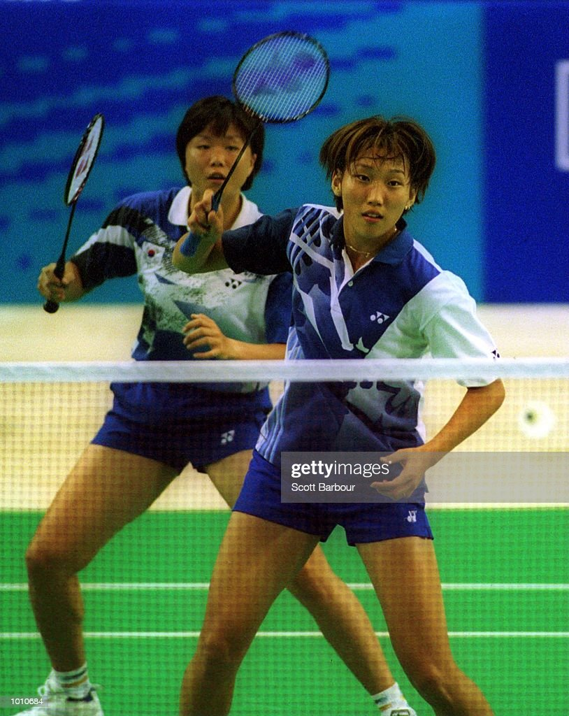 Hyo Jung Lee/Kyung Min Ra of Korea on their way to defeating Chung/Yim of Korea in the womens doubles final at the Australian Badminton International, a SOCOG Olympic test event, Pavilion 4, Olympic Park, Homebush, Sydney, Australia. Mandatory Credit: Scott Barbour/ALLSPORT