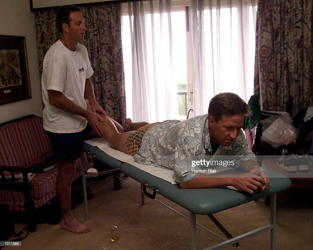 Ian Healy of Australia gets a rub down from team fitness advisor David Misson, at the Taj Samudra Hotel, Colombo, Sri Lanka.X Mandatory Credit: Hamish Blair/ALLSPORT