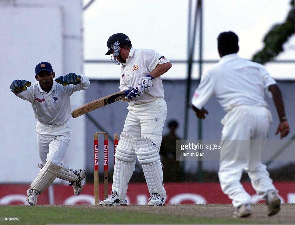 Ian Healy of Australia looks back to see that he has been bowled by Muttiah Muralitharan (right) of Sri Lanka as wicketkeeper Romesh Kaluwitharana celebrates, during day two of the First Test between Sri Lanka and Australia at Asgiriya Stadium, Kandy, Sri Lanka. Mandatory Credit: Hamish Blair/ALLSPORT