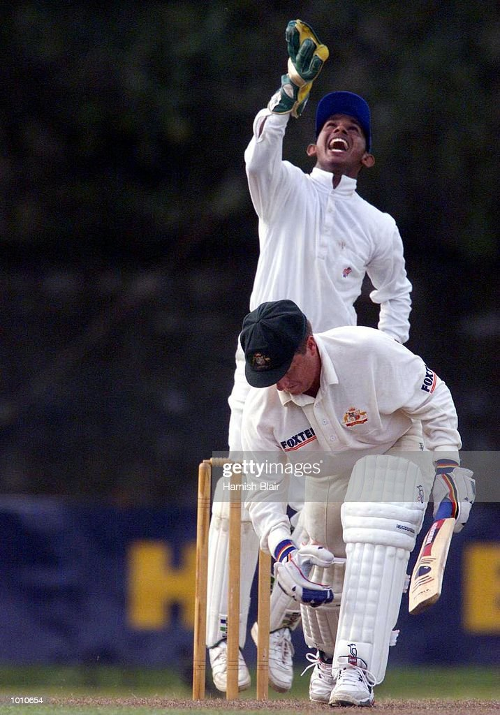 Ian Healy of Australia survives an appeal by Prasannna Jayardene of the Board XI, during day two of the tour match between the Sri Lanka Board XI and Australia at Saravanamuttu Stadium, Colombo, Sri Lanka. Mandatory Credit: Hamish Blair/ALLSPORT