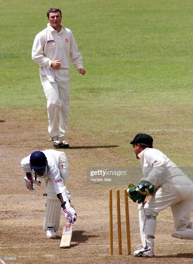 Indike Deseram of the Board XI is stumped by Ian Healy of Australia off the bowling of Stuart MacGill, during day two of the tour match between the Sri Lanka Board XI and Australia at Saravanamuttu Stadium, Colombo, Sri Lanka. Mandatory Credit: Hamish Blair/ALLSPORT