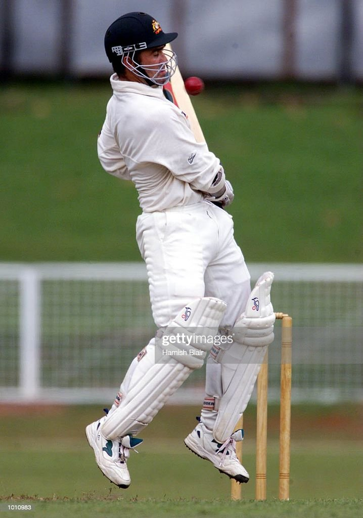 Justin Langer of Australia, avoids a bouncer, during day one of the Tour match between the Sri Lanka Board XI and Australia at Colombo Cricket Club, Colombo, Sri Lanka. Mandatory Credit: Hamish Blair/ALLSPORT