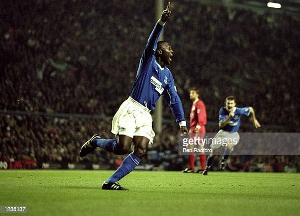 Kevin Campbell of Everton salutes his 4th minute goal during the FA Premier League match between Liverpool and Everton played at Anfiled Liverpool...