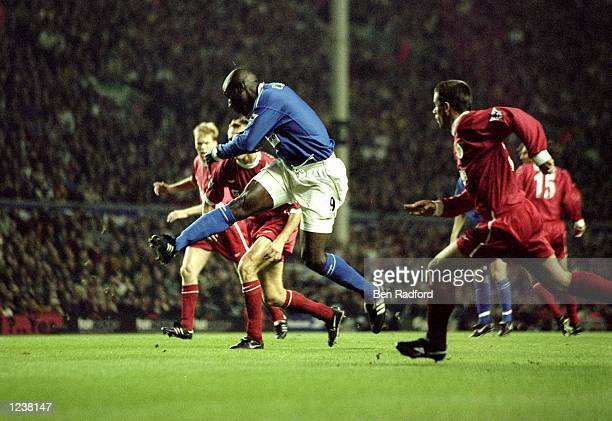 Kevin Campbell of Everton scores the 4th minute winner during the FA Premier League match between Liverpool and Everton played at Anfiled Liverpool...