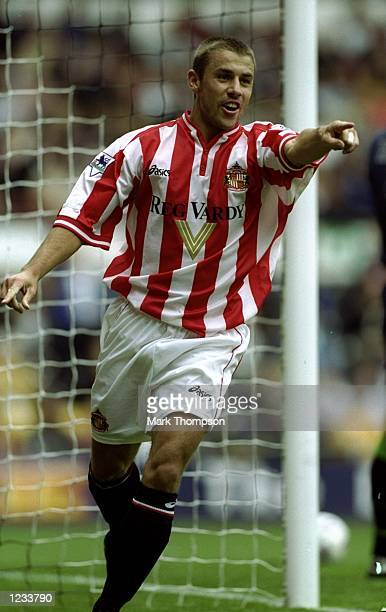Kevin Phillips of Sunderland celebrates during the FA Carling Premiership match against Derby County played at Pride Park in Derby England Sunderland...