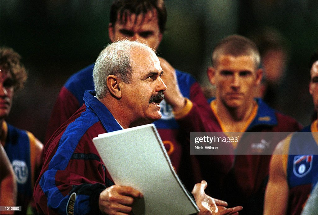 Leigh Matthews coach of Brisbane talks to his team at the break during the 2nd semi final between the Brisbane Lions and the Western Bulldogs at the Gabba, Brisbane, Australia. Mandatory Credit: Nick Wilson/ALLSPORT