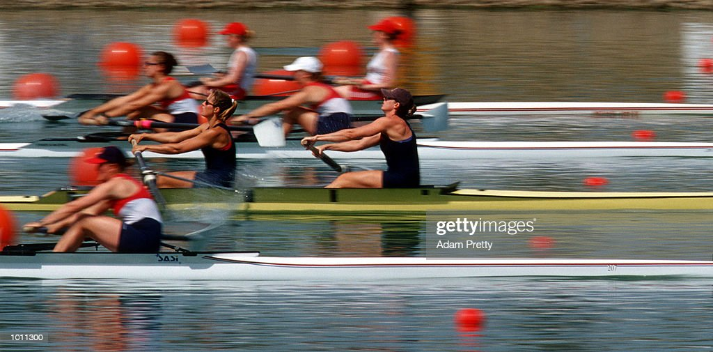 Lianne Nelson (l) and Sally Scouel of the USA in action in the womens coxless pair during the Pacific RIM International at Penrith Lakes,Sydney Australia.This is part of the S.O.C.O.G test events. Mandatory Credit: Adam Pretty/ALLSPORT