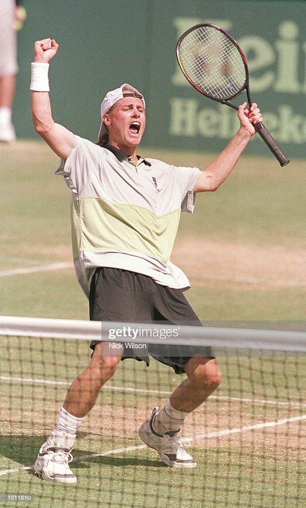 Lleyton Hewitt of Australia celebrates beating Yevgeny Kafelnikov of Russia 6-4, 7-5, 6-2 during the Davis Cup semi final at the ANZ Stadium, Brisbane, Australia. Australia will now meet France in the Davis Cup Final. Mandatory Credit: NickWilson/ALLSPORT