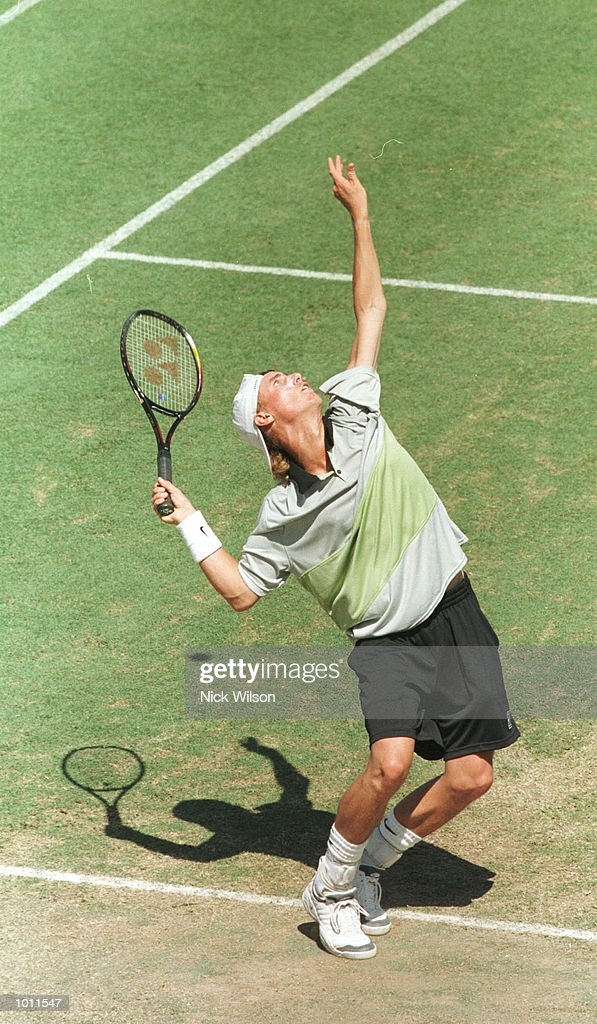 Lleyton Hewitt of Australia serves whilst winning his singles match against Marat Safin of Russia 7-6, 6-2, 4-6, 6-3 during the Davis Cup semi final at the ANZ Stadium, Brisbane, Australia. Mandatory Credit: Nick Wilson/ALLSPORT