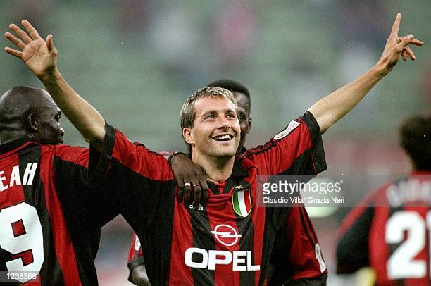 Maurizio Ganz of Milan celebrates during the Serie A match between AC Milan and Bologna played at the San Siro Milan Italy Tha game finished in a 40...