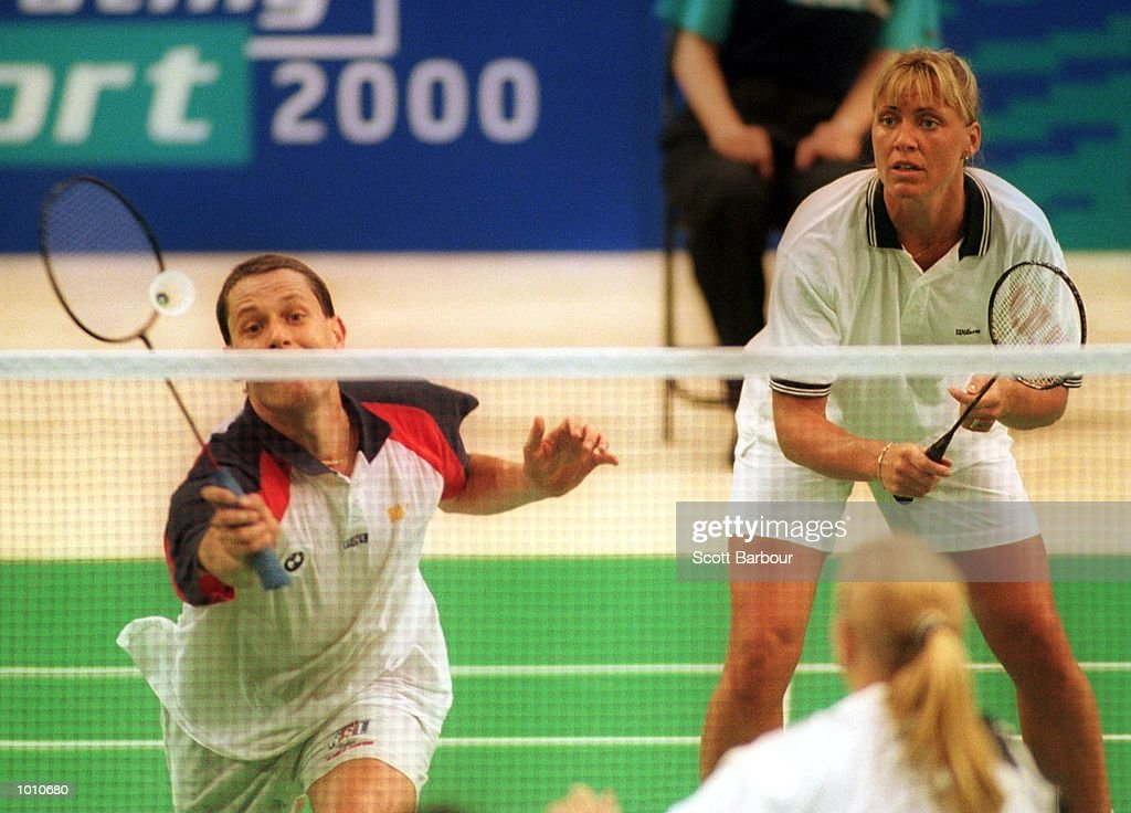 Michael Heck and E.Van Den Heuvel during there match, defeating Hunt/Emms of England in the mixed doubles final at the Australian Badminton International, a SOCOG Olympic test event, Pavilion 4, Olympic Park, Homebush, Sydney, Australia. Mandatory Credit: Scott Barbour/ALLSPORT