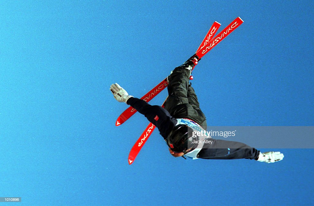 Nicolas Fontaine of Canada flies above the Mount Buller aerials world cup site during the second round of the 1999/2000 world cup aerials season, at Mount Buller, Australia. Fontaine finished in third place in the mens section. Mandatory Credit: Jack Atley/ALLSPORT